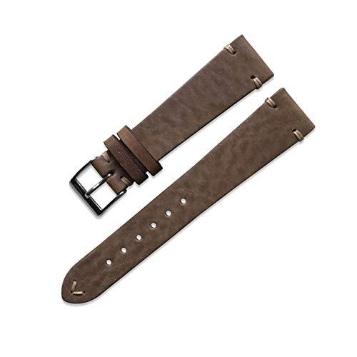Swiss Time Watches Correa de reloj de piel auténtica de 19 mm hecha a mano de piedra beige vintage envejecida