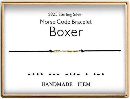 Morse Code Bracelet Boxer Bracelet 925 Sterling Silver Handmade 14K Real Gold Plated Bead Adjustable String Bracelets Birthday Gifts for Boxer