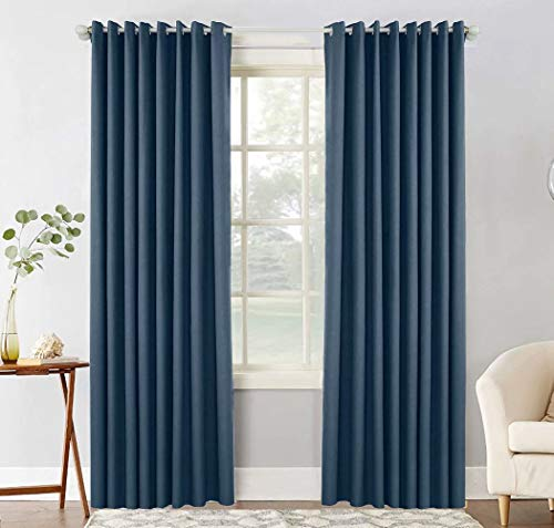 Neecan Blackout Curtains with Liner for Bedroom, Grommets Thermal Insulated Textured Linen Lined Curtains for Living Room. Navy 52Wx84L