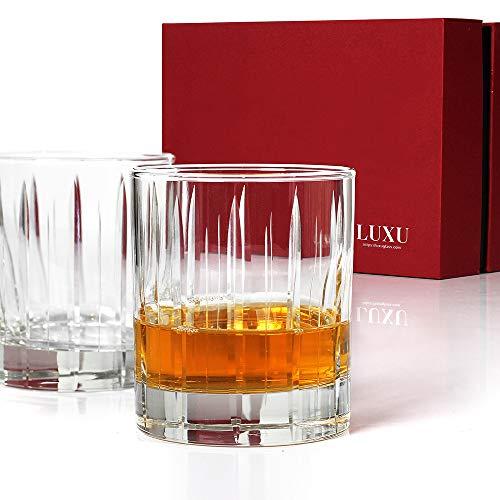 Vasos de whisky cortados - Juego de 2 en caja de regalo, vasos de estilo antiguo, perfectos para servir whisky o bebidas mixtas, Transparente