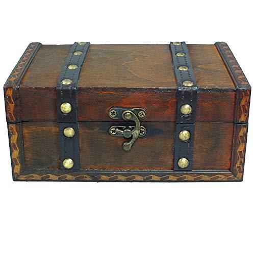 SAFE Baúl de Madera Boda para Novios – Cofre del Tesoro de Boda pequeño – Cofre del Tesoro para niños, Caja de Regalo, Caja de Madera Antigua, Caja de Madera – 180 x 120 x 80 mm