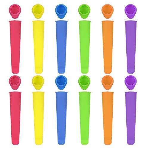 gigitube 12 Stück Eislutscher Formen, Eisformen Silikon, Ice Pop Maker Formen Set, Wiederverwendbare Stieleisformer Popsicle Molds