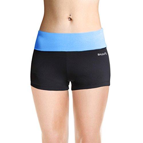 Baleaf Women's High Waist Workout Yoga Running Booty Shorts Inner Pocket Little Boy Blue Size XS
