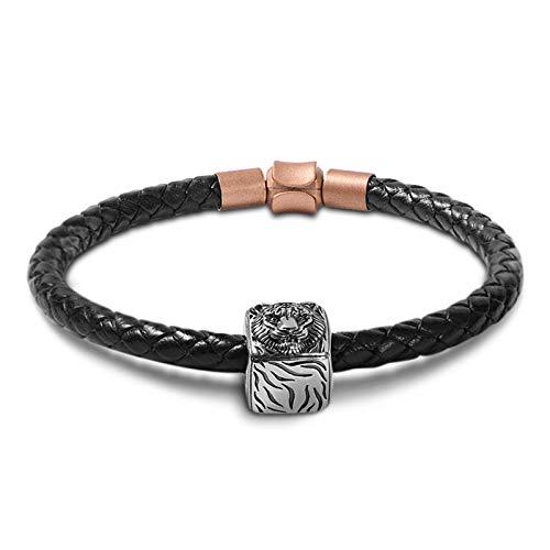 GNOCE Leather Bracelet for Men Women Copper Black Men's Braided Genuine Leather Bracelet with S925 Silver Tiger Square Charm Punk Wrist Cuff Bracelet Gift For Men (Black-Tiger, 20)