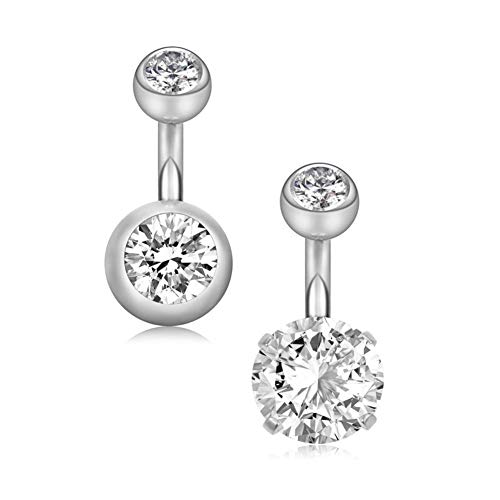 14G 1/4'(6mm) Short Bar Surgical Steel Belly Button Rings Round Cubic Zirconia Navel Barbell Stud Body Piercing (2 Pcs Sliver Tone)