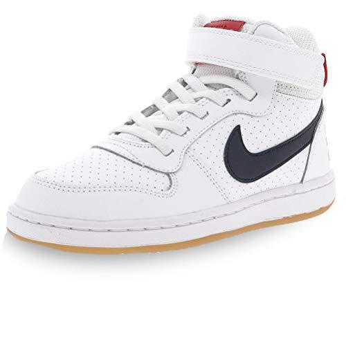 Nike Jungen Court Borough MID (PSV) Basketballschuh, White Obsidian University Red, 31.5 EU