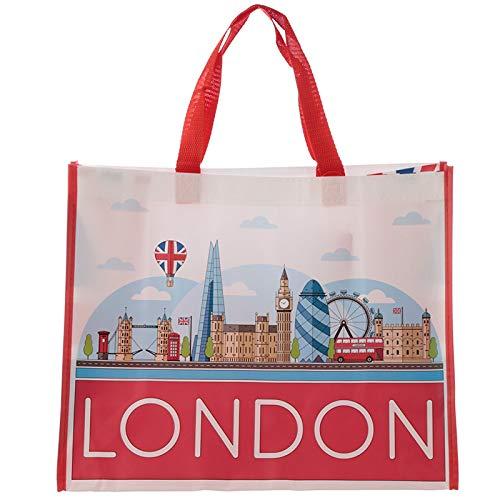 EliteKoopers Einkaufstasche für Damen, wiederverwendbar, umweltfreundlich, robust, 1 Stück, London Icons