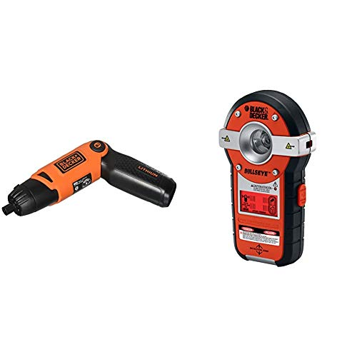 BLACK+DECKER Cordless Screwdriver with Pivoting Handle, 3.6V with Line Laser, Auto-leveling with Stud Sensor (Li2000 & BDL190S)