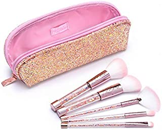 Love, Kenzie Beauty Girls Cosmetics - Glitter Goals Brush Set - 1 Zip Pouch and 5 Glitter Infused Makeup Brushes