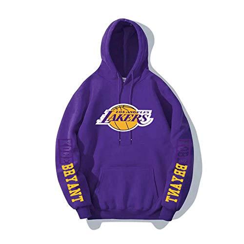 BAIDEFENG Herren Basketball Hooded Sweater Street Herbst und Winter Hooded Sweater Plus Samt Langarm Los Angeles Lakers Kobe NBA Sportswear Hoodies-Lila_Groß