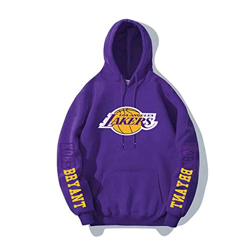 BAIDEFENG Herren Basketball Hooded Sweater Street Herbst und Winter Hooded Sweater Plus Samt Langarm Los Angeles Lakers Kobe NBA Sportswear Hoodies-Lila_XXX-groß