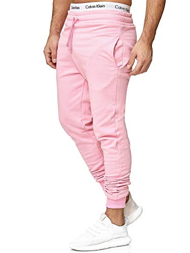 OneRedox Herren | Jogginghose | Trainingshose | Sport Fitness | Gym | Training | Slim Fit | Sweatpants Streifen | Jogging-Hose | Stripe Pants | Modell 5000C Pink M
