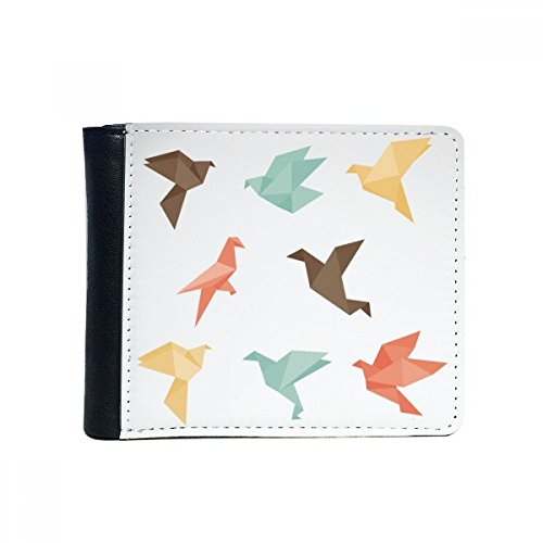 Kleurrijke vogel Abstract Origami patroon Flip Bifold Faux lederen portemonnee multifunctionele kaart portemonnee cadeau