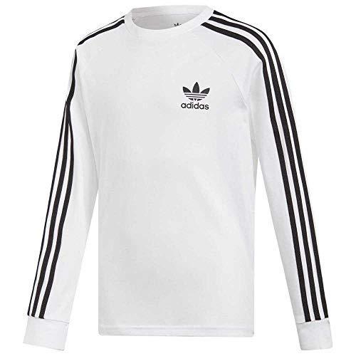 adidas 3Stripes LS T-Shirt, Unisex Kinder, Weiß/Schwarz, 128 (7/8 Jahre)