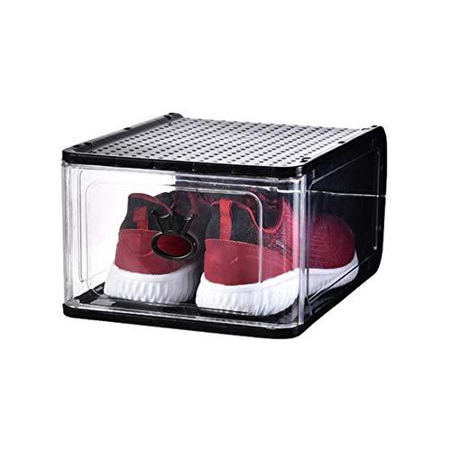 Caja de zapatos Caja de zapatos plegable desmontable de plástico transparente espesado firme de alta calidad Gabinetes de almacenamiento Sala de estar re-1PCS-Negro, Grande-33X26.5X17.5cm