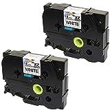 2 Compatibili Cassettes TZe-241 TZ-241 nero su bianco 18mm x 8m Nastri laminati per Brother P-Touch PT-2030VP 2430PC 3600 9600 D400 D450VP D600VP E300VP E550WVP H300 H500 P700 P750W Etichettatrici