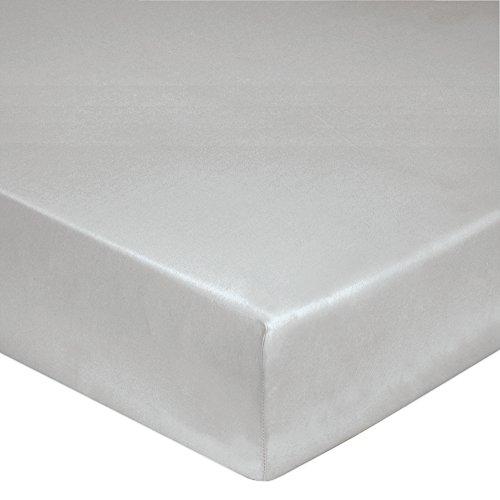 Blanc des Vosges Uni Percale Drap housse Coton Platine 90 x 190 cm bonnet de 30 cm