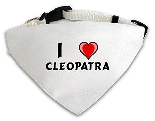 Personalisierter Weißer Hundschal mit Aufschrift Ich liebe Cleopatra (Vorname/Zuname/Spitzname)