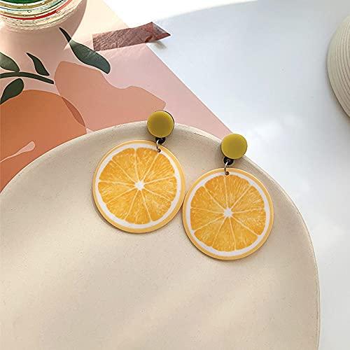 FEIHUI Pendiente,Dibujos Animados Redondos Amarillo Acrílico Naranja Rodajas Único Hipoalergénico Gancho para La Oreja Pendientes De Gota Exquisita Gota para El Oído Que Cuelga Joyería Colgante para