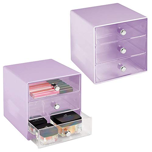 mDesign Plastic Makeup Organizer Storage Station Cube, 3 Drawers for Bathroom Vanity, Cabinet, Countertops - Holds Lip Gloss, Eyeshadow Palettes, Brushes, Blush, Mascara, 2 Pack - Light Purple