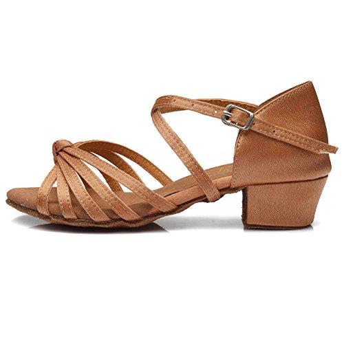 YKXLM Mujeres&Niña Zapatos Latinos de Baile Zapatillas de Baile de salón Salsa Tango Performance Calzado de Danza,ES203,Marrón,EU 36