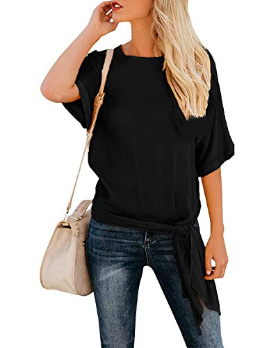 OURS Women's Loose Fit Short Sleeve Tie Knot T Shirts Blouses Tops Plus Size (Black, XL)