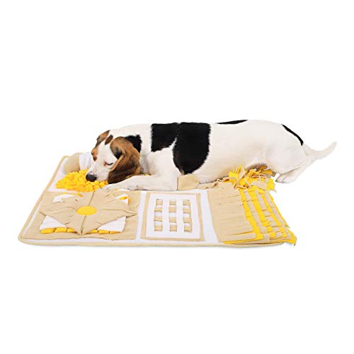 Dibea Tappeto Sniffing Cani Tappetino Training olfattivo (M) 70 x 60 cm Giallo-Marrone