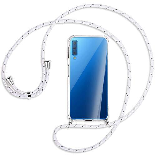 mtb more energy® Handykette kompatibel mit Samsung Galaxy A7 2018 (Duos) SM-A750 (FN/DS, 6.0'') - weiß+grau gestreift - Smartphone Hülle zum Umhängen