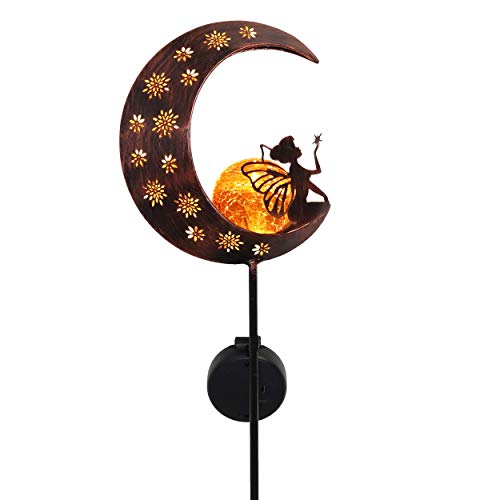 COLLECTIONS Solar Lights Garden Ornament, Decorative Metal Garden Stake Moon with Fairy for Patio, Backyard and Outdoor Decorations