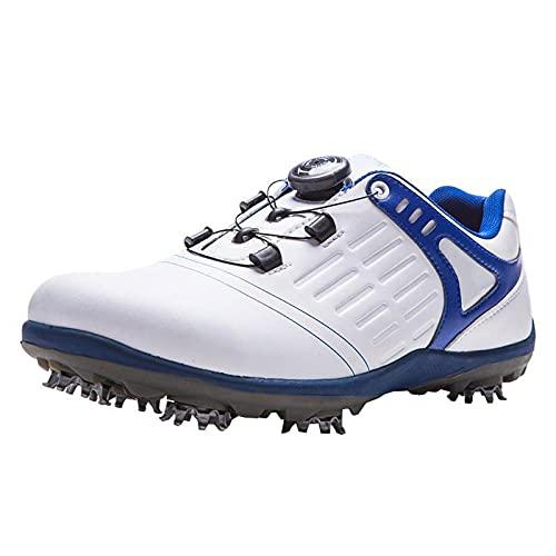 XRDSHY Herren Golfschuhe wasserdichte Verschleißfeste rutschfeste Turnschuhe,Männer Turnschuhe Abnehmbarer Nagel, Automatikknopf Tie-Fast Lace Up,Für Familie,Freunde,White blue-40(250mm)