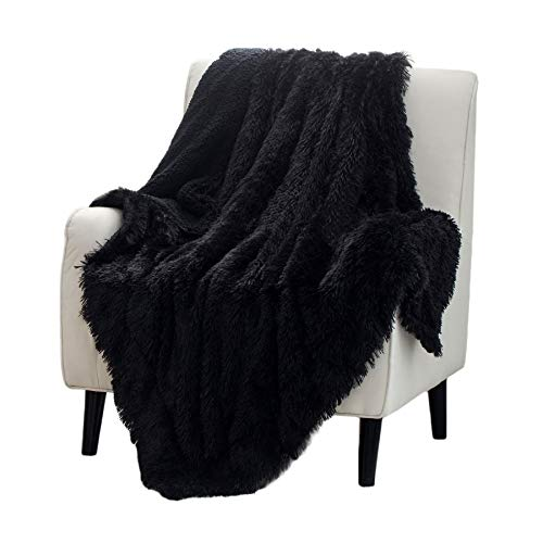 Bedsure Soft Fuzzy Faux Fur Sherpa Fleece Twin Blanket Black- Warm Thick Fluffy Plush Cozy Reversible Shaggy Blanket for Sofa and Bed -Comfy Furry Blanket, Solid Black 60x80