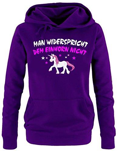 Coole-Fun-T-Shirts Man widerspricht dem Einhorn Nicht ! Damen Hoodie Sweatshirt mit Kapuze LILA, Gr.L