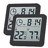 LYYDAN Termómetro de interior, portátil, higrómetro digital LCD, termómetro, para casa, invernadero, oficina, habitación (negro)