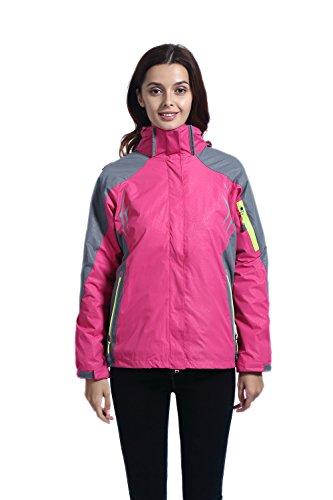 Leajoy Women's Waterproof Windproof Hooded Rain Jacket Outdoor Insulated Shell Jacket