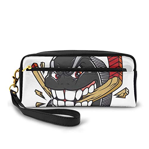 Pencil Case Pen Bag Pouch Stationary,Cartoon Hockey Puck Bites And Breaks Hockey Stick Championship Game Mascot Character,Small Makeup Bag Coin Purse