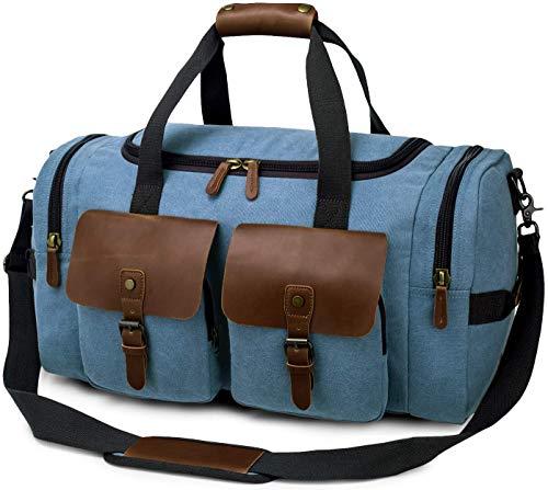 TAK Vintage Reisetasche Weekender Duffle Bag Wochenend Tasche Handgepäck Weekend Tasche Umhängetasche aus Canvas Leder mit Schuhfach, für Herren Damen lässigen Reisen Gym Urlaub, 40 L,Blau