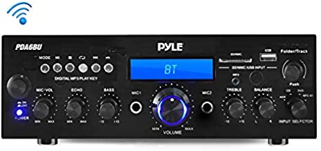 Pyle PDA6BU.5 Compact Bluetooth Stereo Amplifier - Desktop Audio Power Amp Receiver with FM Radio, MP3/USB/SD Readers, Digital LCD Display, Microphone Input (200 Watt), Black