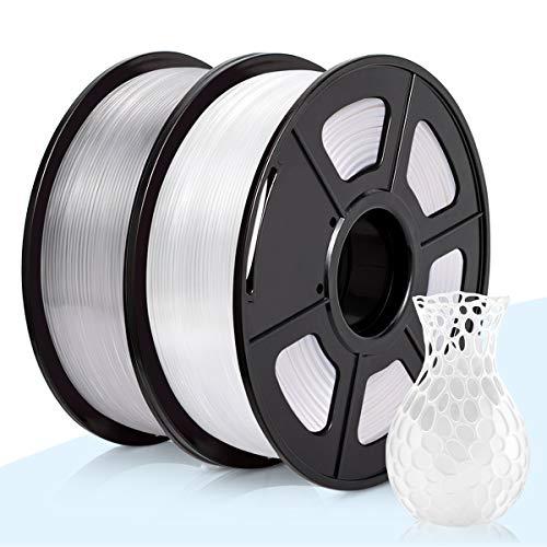 3D Warhorse Filament PLA pour imprimante 3D, précision de ± 0,02mm, section de 1,75mm, PLA-2KG, PLA2KG (Bianco+Trasparente), 1
