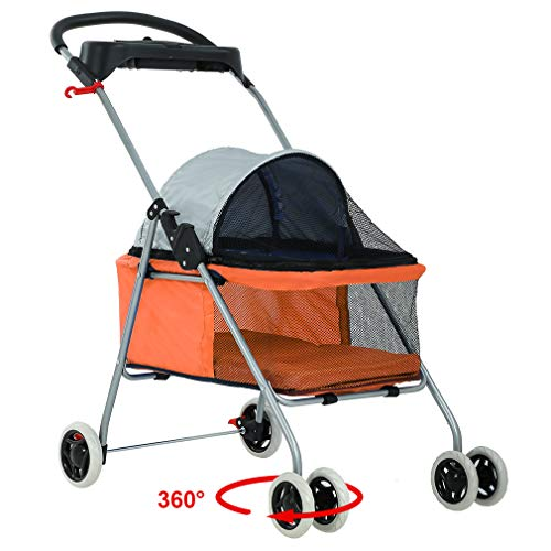 New BestPet Orange Posh Pet Stroller Dogs Cats w/Cup Holder