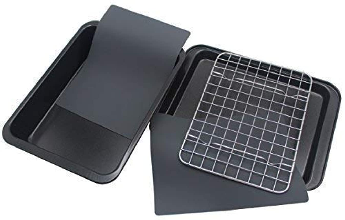 Checkered Chef Toaster Oven Pans - 5 Piece Nonstick Bakeware Set Includes Baking Trays, Rack and Silicone Baking Mats - Best Accessories For Toaster and Convection Ovens