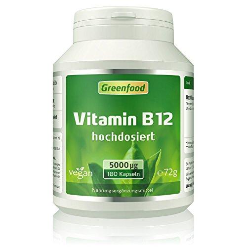 Vitamin B12 (Methylcobalamin), 5000 µg, extra hochdosiert, 180 Kapseln, vegan – für mehr Energie. Wichtig für das Nervensystem und die Blutbildung. OHNE künstliche Zusätze. Ohne Gentechnik. Vegi-Kapse
