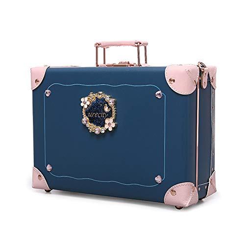 KMCMYBANG Decorative Suitcase Vintage Storage Trunk Storage Box Treasure Chest Luggage-Ideas Gift for Christmas Birthday Toy Box Blanket Box Storage Trunks Color  Blue Size  395x29x15cm