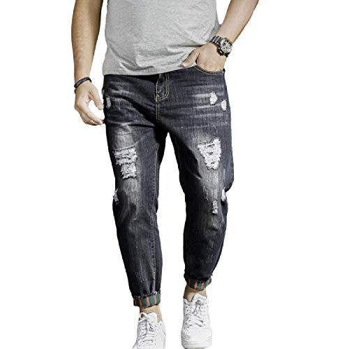 Pantalones Vaqueros para Hombre Verano Tendencia Europea y Americana Tallas Grandes Pantalones Harem de Nueve Puntos Personalidad Rasgados Pantalones Vaqueros Sueltos con Lavado 38