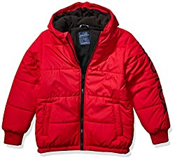 powerful Nautica Big Boy Sleeve Logo Short Bubble Jacket Outerwear, Red Rouge, L14 / 16