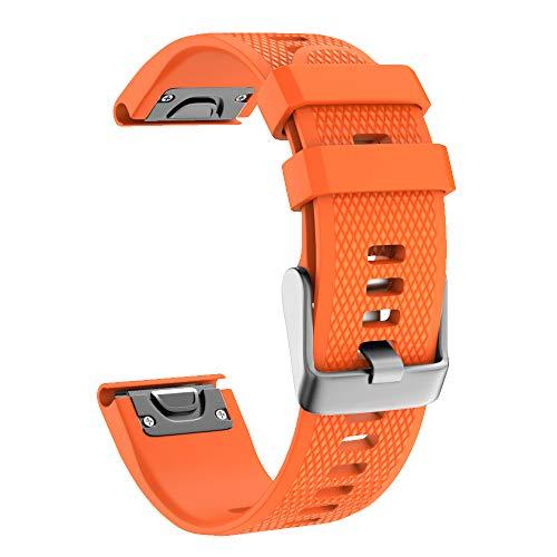 Isabake Bracelet pour Garmin Fenix 5/5 Plus /5 GPS, Fenix 6/6 Pro 22mm Remplacement QuickFit Bracelet pour Garmin Forerunner 935/945, Approach S60 / Quatix 5 (Orange)