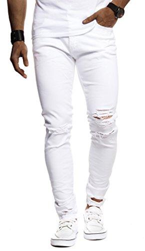 Leif Nelson Jeans da Uomo Pantaloni Jean LN-9145 Bianca W33/L30