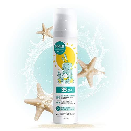 AYAN protector solar FPS 35 para bebés y niños✔️ Protección solar mineral SIN nanoparticulas y UV filtros químicos✔️ Cosmética natural con manteca de karité, cera de abeja, aceite de coco y vitamina E