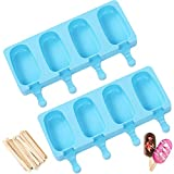 Popsicle Molds Cake Pop Mold - 2 Pack Upgraded Large Cakesicle Molds Silicone Ice Pop Mold Homemade Popsicle Maker Oval with 50 Wooden Sticks for DIY Ice Cream