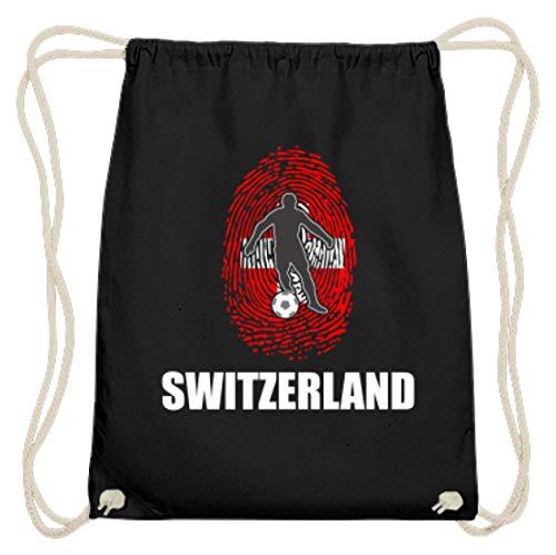 Hochwertige Baumwoll Gymsac - WM Schweiz Trikot Russland 2018 Für Schweizer Fans Fußball Fingerabdruck National Design