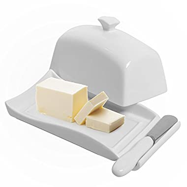 Decorative White Ceramic Lidded Butter Dish & Knife Spreader Set - MyGift